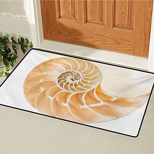 Nautilus Outdoor Shell - GUUVOR Sacred Geometry Inlet Outdoor Door mat Nautilus Shell Showing The Chambers in Distance Curves Helix Hidden Print Catch dust Snow and mud W23.6 x L35.4 Inch Cream White