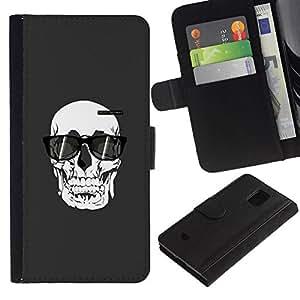 All Phone Most Case / Oferta Especial Cáscara Funda de cuero Monedero Cubierta de proteccion Caso / Wallet Case for Samsung Galaxy S5 Mini, SM-G800 // Sunglasses Death Art Painting