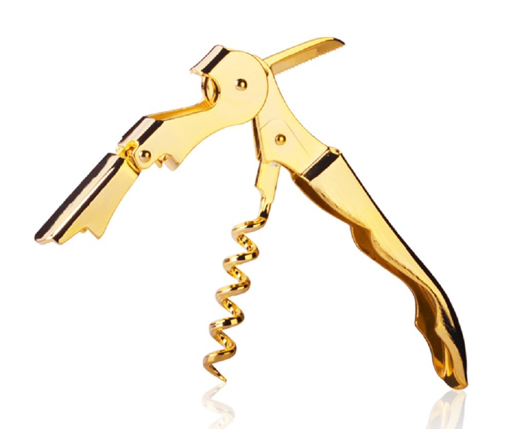 Gold Plated Corkscrew Double Hinge Waiters Wine Key Bottle Opener # CHGLD