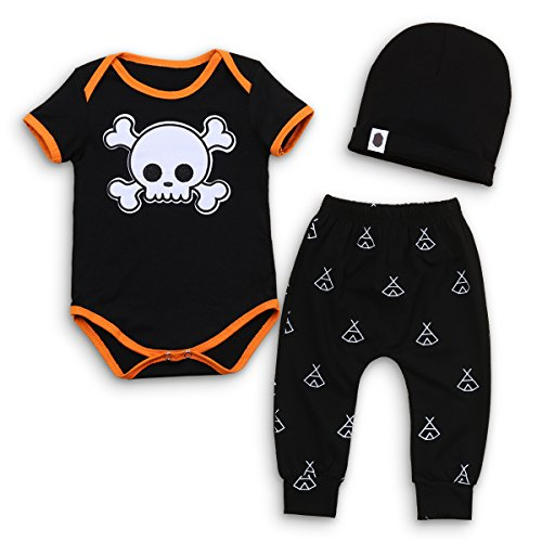 Newborn Kids Baby Boy Girl Cotton Tops Romper Pants Hat 3Pcs Outfits Set Clothes Infant My First Halloween Costume Black Skull 12-18 (Party In My Pants Costume)