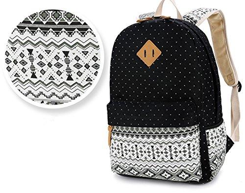 Ruiying Backpack Mochilas Escolares Mujer Mochila Escolar Lona Grande Bolsa Estilo Étnico Vendimia Lunares Casual Colegio Bolso Para Chicas Negro