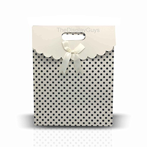 The Display Guys 12 pcs Dozen Paper Gift Bags Box Tote Bow Bowknot Attached for Holiday Wedding Graduation Party Favor Presents (10x8x5 inches, White with Black Dots) (Graduation Gift For A Guy)