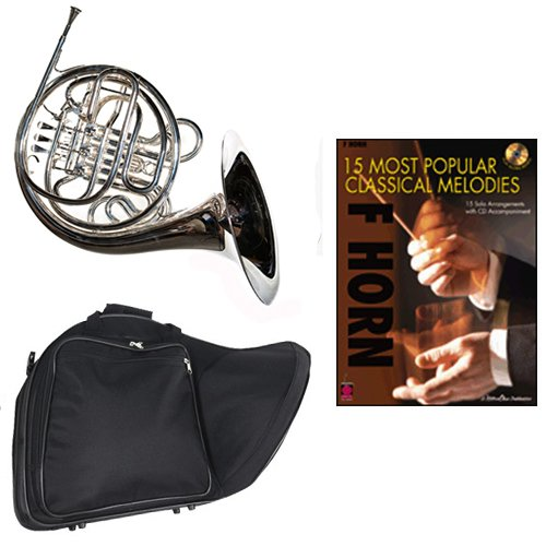 Band Directors Choice Silver Plated Double French Horn Key of F/Bb - 15 Most Popular Classical Melodies Pack; Includes Intermediate French Horn, Case, Accessories by Double French Horn Packs