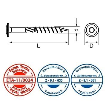 Durchmesser//Gr/ö/ße:8.0 x 320 mm 50 St/ück Eurotec Paneltwistec Tellerkopf Holzschraube Stahl gelb verzinkt