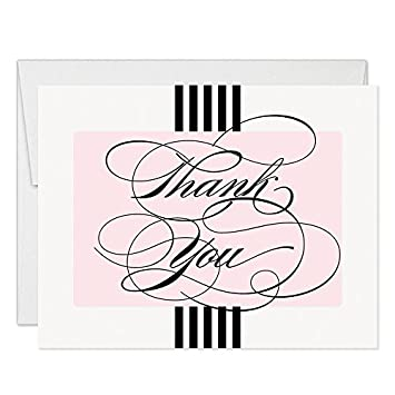 Classic Pink Striped Thank You Notecards With Envelopes Pack Of 50 Blank Folded
