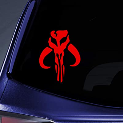 "Bargain Max Decals - Mandalorian Boba Fett Sticker Decal Notebook Car Laptop 5"" (Red): Automotive"