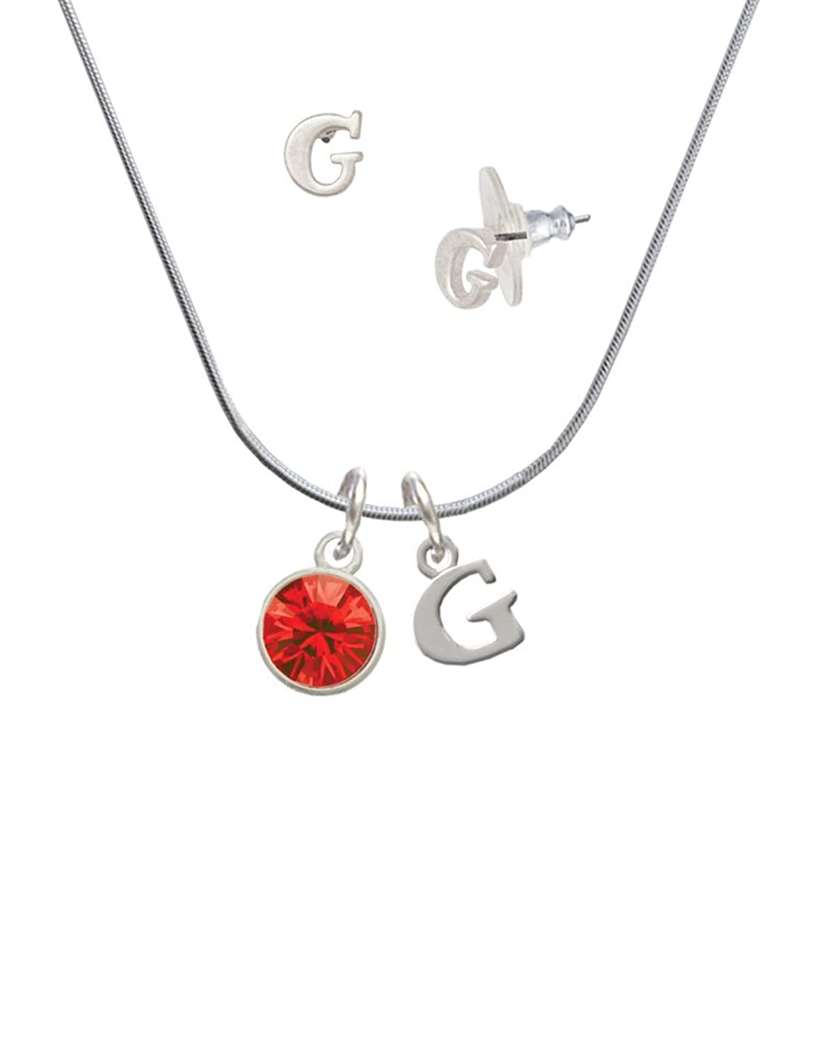 10mm Red Oktant Crystal Drop - G Initial Charm Necklace and Stud Earrings Jewelry Set