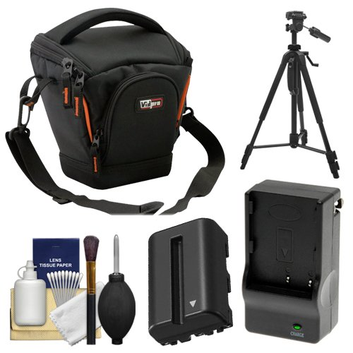 (Vidpro TL-25 Top-Load DSLR Camera Holster Case (Small) with NP-FM500H Battery & Charger + Tripod + Cleaning Kit for Sony Alpha DSLR SLT-A57, A65, A77, A99)