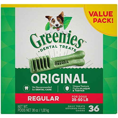 Greenies Dental Dog Treats  Regular Size  Original Flavor  36 Treats  36 Ounces  Greenies Dog Dental Chews  For Clean Teeth And Healthy Gums