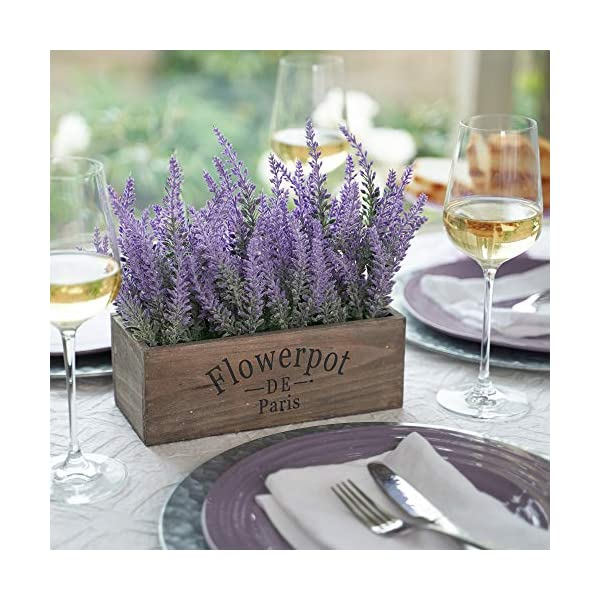 Butterfly Craze Artificial Lavender Plant with Silk Flowers for Wedding Decor and Table Centerpieces (Lavender w/Rectangular Pot)