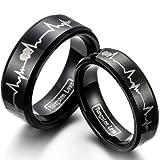 JewelryWe-Schmuck-1-Paar-Wolfram-Wolframcarbid-Herzen-Herzschlag-Partnerringe-Freundschaftsringe-Eheringe-Trauringe-Verlobungsringe-Band-Schwarz