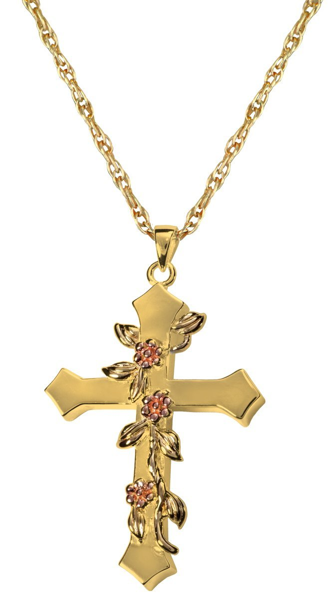 Memorial Gallery 3306gp Rose Vine Cross 14K Gold/Sterling Silver Plating Cremation Pet Jewelry