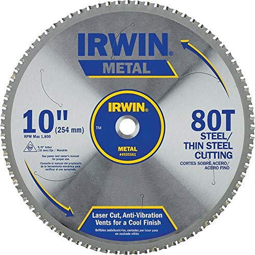 IRWIN Tools Metal-Cutting Circular Saw Blade, 10-inch, 80T - Cut Fast Blade Steel Saw