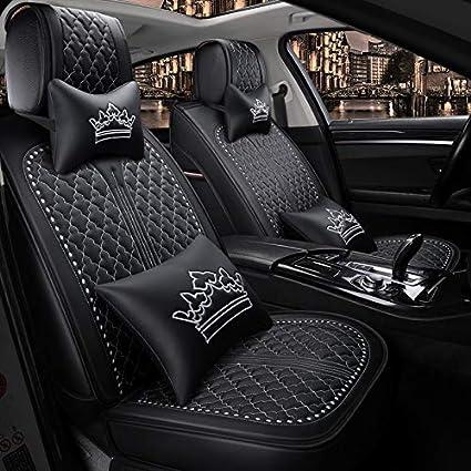 Black-Gold Saienon Luxury PU Leather Auto Car Seat Covers 5 Seats Full Set Universal Fit.
