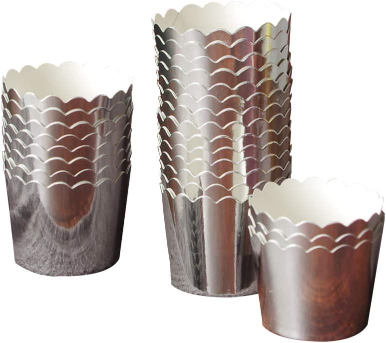 50 Pcs Paper Cupcake Liners Baking Cups, Holiday/Parties/Wedding/Anniversary(Silver)