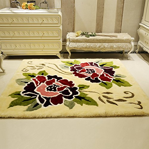 Plant flowers plush carpet mats Pure handmade living room bedroom carpet European style American style [modern] Simple Chinese style mat-A 180x200cm(71x79inch) by AHAWIFEHAPPYDAYHU