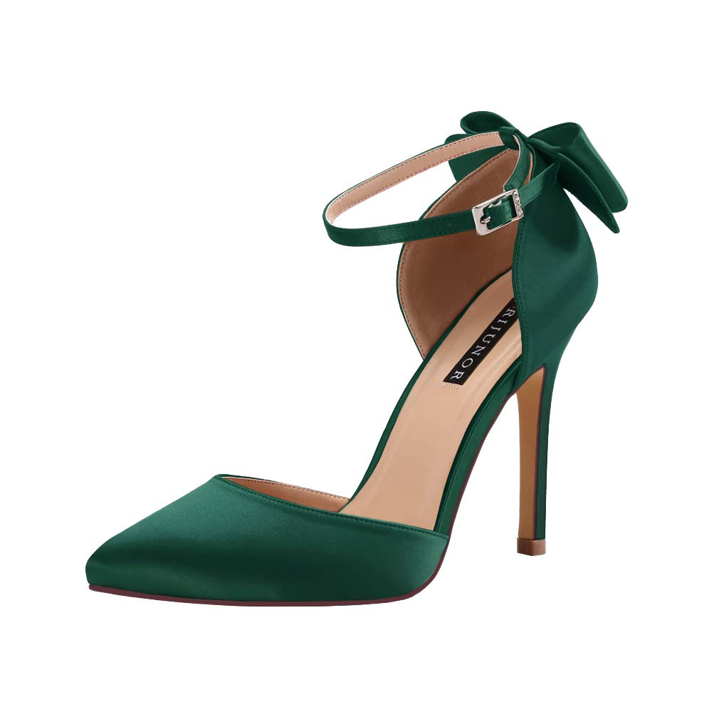 ERIJUNOR E1966A Women High Heel Bow Ankle Strap Evening Party Dance Wedding Satin Shoes Green Size 9