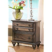 Fortuna 3 Drawer Nightstand in Rustic Weathered Brown