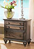 NCF Furniture Fortuna 3 Drawer Nightstand in Rustic Weathered Brown For Sale