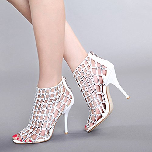 Women's Embellished Rhinestone Studded Cutout Peep-Toe Zip-Up High Heel Stilettos Sandals Dress Party Pumps White