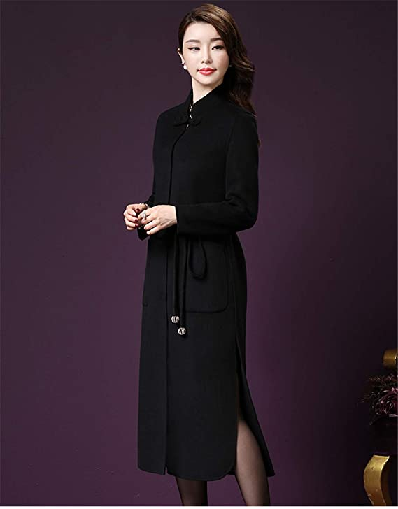 Amazon.com: Warm Woolen Jacket Women Korean Fashion Long Wool Coat Young Women Half-High Collar Overcoat: Clothing