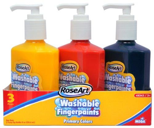 RoseArt 8-Ounce Pump Top Finger Paints, 3-Pack, Assorted Colors (48343UA-8)