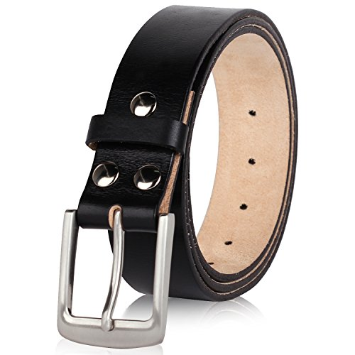 NPET Men's Genuine Leather Belt Retro Belt with Strong Pin Buckle 1.5
