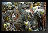 Antique Statues Sculptures at Beijings Panjiayuan Dirt Market Photo Photograph No Glare Wood Eco Framed Poster Print 13x9