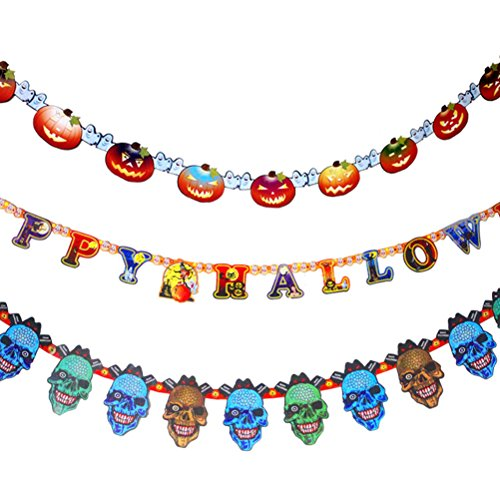 (Qifumaer Halloween Theme Vampire Vintage Paper Flags Banner for Baby Shower Party Festival Decorations)