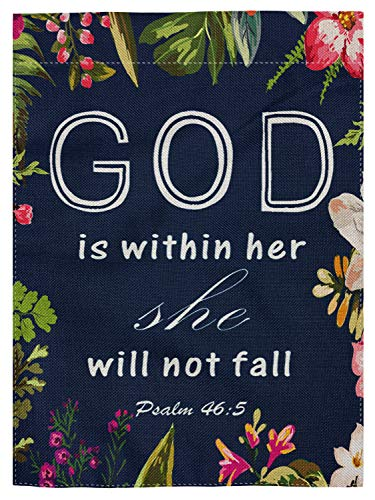pingpi Christian Quotes Double Sided Burlap Garden Flag 12.5x18,Bible Verses God is Within Her She Will Not Fall Psalm 46:10