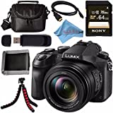 Panasonic Lumix DMC-FZ2500 Digital Camera + Sony 64GB SDXC Card + Carrying Case + Flexible Tripod + Micro HDMI Cable + Memory Card Wallet + Card Reader + Fibercloth Bundle