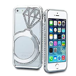Encore Hollow Design Diamond Crystal Bling Aluminum Metal Bumper Hard Case Cover for iPhone 5G/iPhone 5S(Silver)