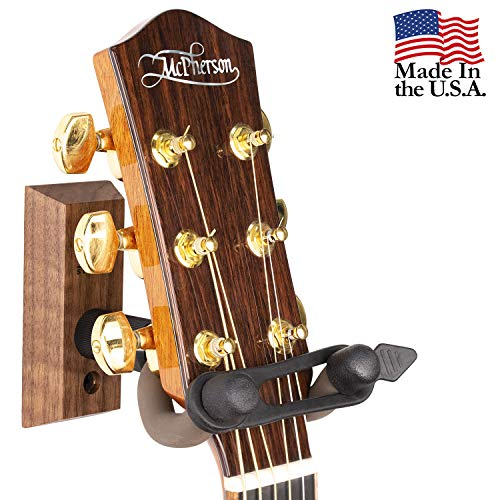 String Swing Guitar Wall Mount Hanger with Keeper Strap- Electric Acoustic and Bass Guitars CC01K-BW ()