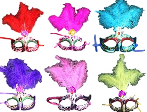[Christmas Sale ! Christmas or New Year Carnival ! Theme Party Masks Decorated with Glitter Diamonds(Turquoise] (Blue Mardi Gras Mask)