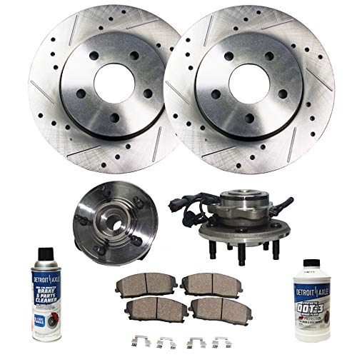 Detroit Axle - Front Wheel Hub Bearing Assembly, Drilled and Slotted Disc Brake Rotors w/Ceramic Pads w/Hardware & Brake Cleaner for 2002-2005 Ford Explorer 4door - [02-05 Mercury ()