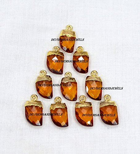 Citrine Knife - 5 Pcs. Lot Citrine Quartz Hydro Faceted Horn Pendant, Leaf , Small Horn , Gold Electroplated Single Bail Horn / Spike Charm Pendant For Sale Lot.