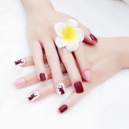 JK - Kit de 48 uñas postizas naturales, 12 tamaños diferentes, diseño de uñas
