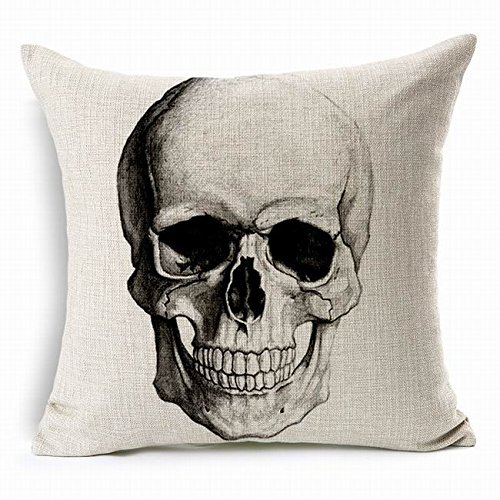 Space Editor(TM) Beige Skull Hot ( 17.7 X 17.7 Inches ) Punk Skull Skeleton Printed Cushion Cover Lumbar Waist Chair Car Pad Hug Pillow Case Couch Pillows Hug (Skeleton Chair)