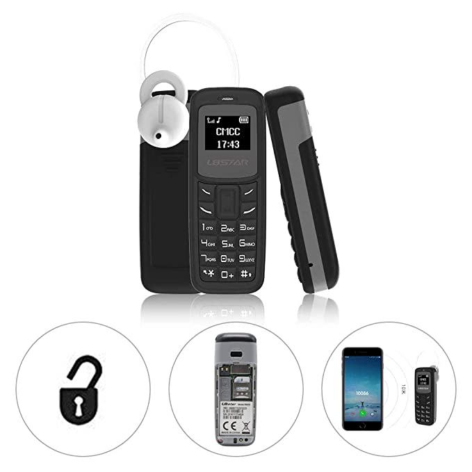 L8star Mini Mobile Phone Unlocked Bluetooth Dialer Cell Phone BM30 GSM with  MP3 Player Support Nano SIM Card 0 66 inch (Black)