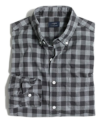 J.Crew Mens Heathered Cotton Plaid Button Down Shirt