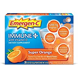 Emergen-C Immune+ System Support Dietary Supplement Drink Mix With Vitamin D, 1000mg Vitamin C, 0.33 Ounce Packets (Super Orange Flavor, 30 Count)