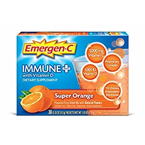 Emergen C Immune+ (30 Count, Super Orange Flavor) System Support Dietary Supplement Fizzy Drink Mix With Vitamin D, 1000mg Vitamin C plus Antioxidants & Electrolytes, 0.33 Ounce Packets