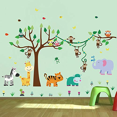 decalmile Animal Tree Wall Stickers Monkey Giraffe Elephant Kids Wall Decals Baby Nursery Kids Room Wall Decor
