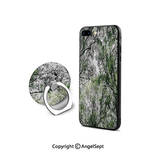 iPhone 7/8 Case with 360°Degree Swivel Ring,Tree Branch in Spring Season Fairy Jungle Growth Nature Look Up Wood Scene,Ultra Thin Slim Cover Case,Green