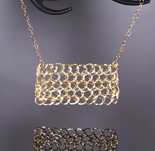 14k Gold Filled Rectangle Filigree Bar Necklace Handmade Wire Crochet Jewelry