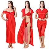 MILIT Satin Nightwear 6 Pcs Set of Nighty ,Robe ,Top ,Capry ,Bra , Thong & Lingerie For Women Special Offer At Rs 599 .