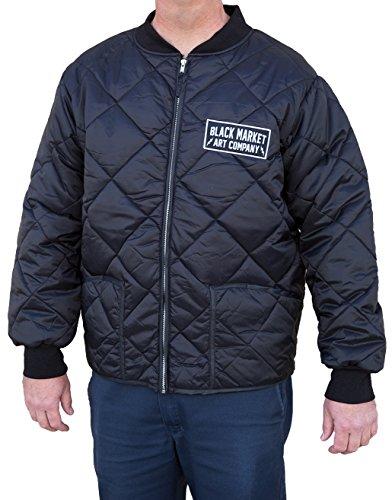 Black Market Art Men's Company Diamond Quilted Lined Puffer Nylon Jacket Coat