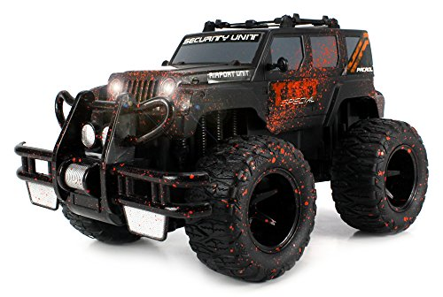 Velocity Toys Mud Monster Jeep SUV Battery Operated RC Off-Road Truck 1:16 Size w/ Bright Headlights, Custom Mud Splatter Paint (Colors May Vary)