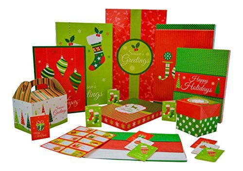 Christmas Gift Box Set - 44 Count Christmas Supplies Bundle Includes Gift Boxes, Gift Tags, Stickers and Tissue Paper