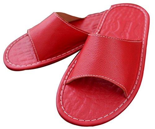 Pantofole Da Donna Blubi Da Donna Estate Open Open In Pelle Rossa